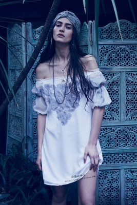 美国潮牌For Love & Lemons 一字肩迷你连衣裙 SICILY MINI DRESS