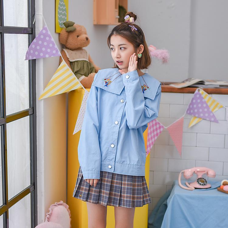 Áo khoác/Áo nữ thêu hoa phong cách học sinh trẻ trung kiểu dáng rộng rãi phong cách ngọt ngào một màu mẫu mới nhất