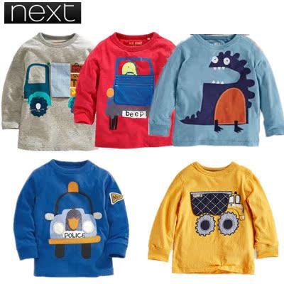 【现货】英国NEX*同款秋季长袖卡通男童T恤纯棉儿童长袖T恤