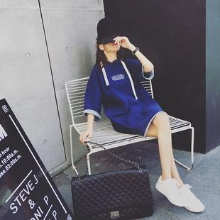 韩版纯色休闲宽松短袖套头连帽卫衣t恤女夏季学生原宿风卫衣薄款