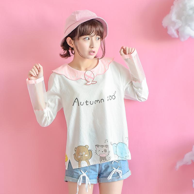 Áo T-shirt nữ cổ tròn họa tiết in hoa họa tiết mặt mèo mẫu mới mùa thu kiểu dáng dễ thương