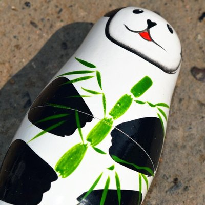 手绘 俄罗斯套娃5层熊猫娃娃木制益智玩具