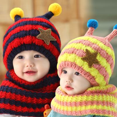 秋冬儿童帽子韩版卡通蜜蜂宝宝帽 保暖儿童帽子围巾两件套公主妈