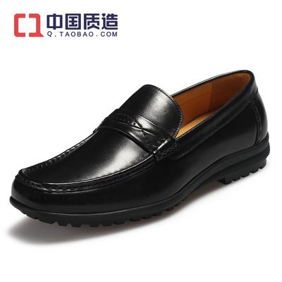 Accow新款商务休闲男鞋软皮软底真皮皮鞋英伦驾车鞋一脚蹬懒人鞋