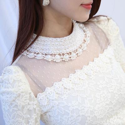 蕾丝衫女2015秋冬季新款修身百搭高领钉珠大码加绒加厚打底衫长袖