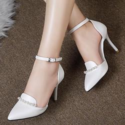 [缺码清仓] 2015春夏季新款包头凉鞋女鞋韩版尖头细跟高跟鞋白色小码凉鞋女潮