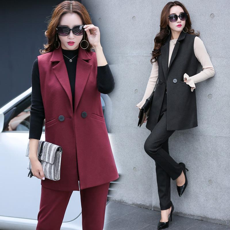 休闲长裤无袖马夹女式两件套装