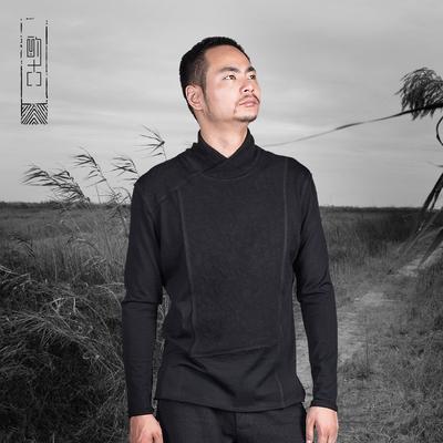 酌古中国风男装长袖t恤男秋装中式复古高领打底衫图片