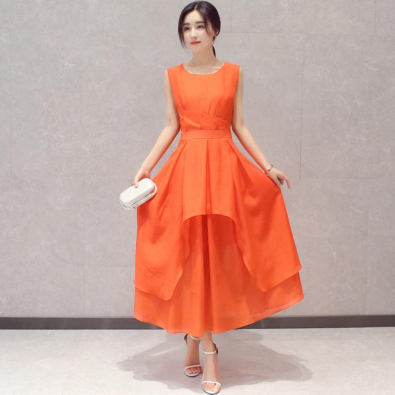 庄重优雅修身礼服无袖背心长裙连衣裙