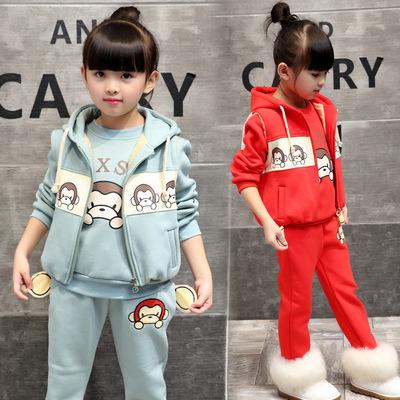 冬装三件套装冬季可爱女童装儿童新潮流小孩子4至5-6