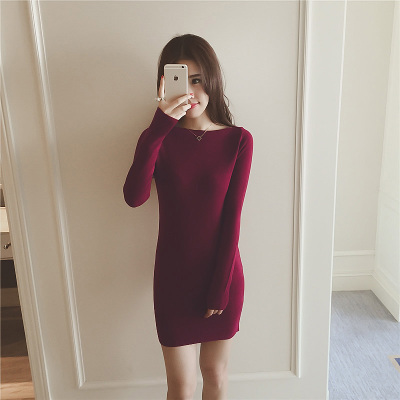 jto 秋冬新款韩版气质修身显瘦包臀长袖打底纯色针织连衣裙10926