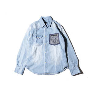 <现货>OUROBOROS2016SS原创设计LVC大战洗水牛仔衬衫男女长袖衬衣