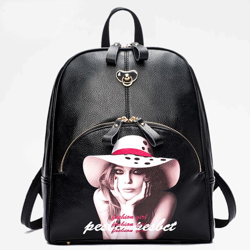 韩版新款双肩包上班族百搭学院风逛街美女头像卡通背包