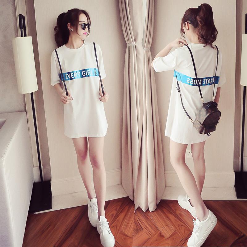 夏天短袖雪纺衫春夏季女士T恤女装中长款上衣服宽松韩国体恤学生
