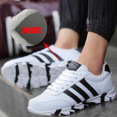 秋冬男士板鞋韩版迷彩运动休闲鞋防滑男鞋子刀锋加绒跑步保暖棉鞋