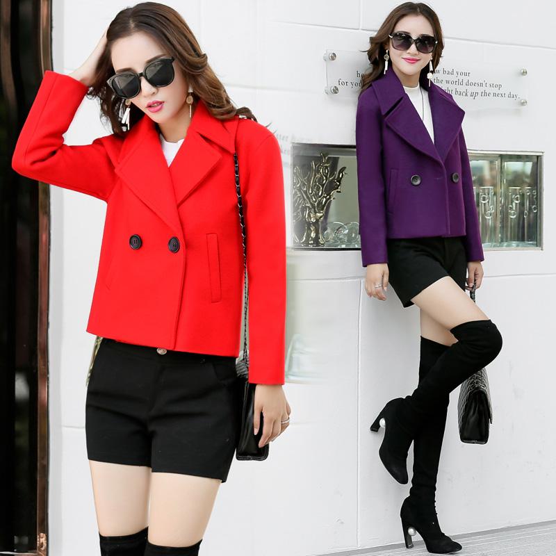 短款毛呢外套女装冬季新品红色外套
