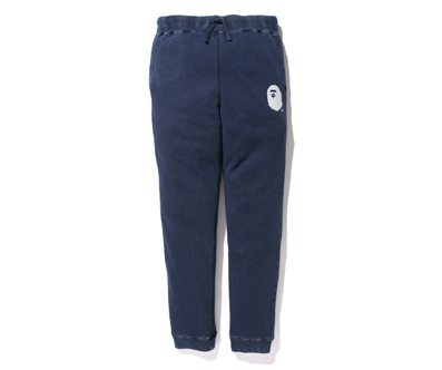 四季现货BAPE APE HEAD INDIGO KNIT SLIM SWEAT PANTS蜡染裤15AW