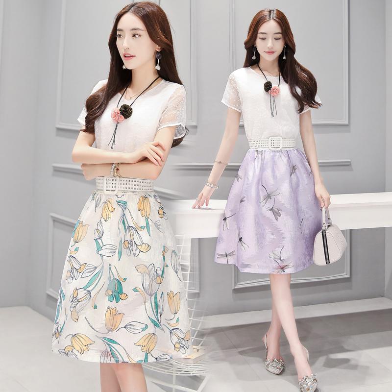 甜美女装夏季时尚两件套装短袖小衫花色中裙套装