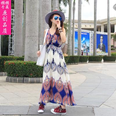 2015新款韩版吊带长裙民族风雪纺连衣裙波西米亚海边度假沙滩裙子