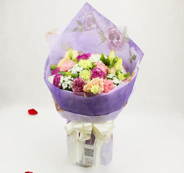 苏州鲜花19朵混搭康乃馨欧式花束送妈妈长辈周年纪念