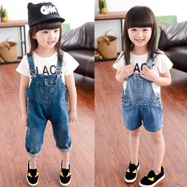 2015春夏裝新款嬰兒寶寶兒童背帶短褲男女童小童牛仔長褲2-3-4歲