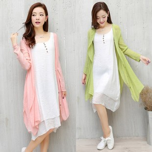 时尚棉麻连衣裙两件套修身显瘦百搭