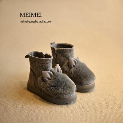 2015冬季儿童鞋韩版女童靴子可爱兔毛中筒靴休闲棉靴棉鞋马丁靴潮