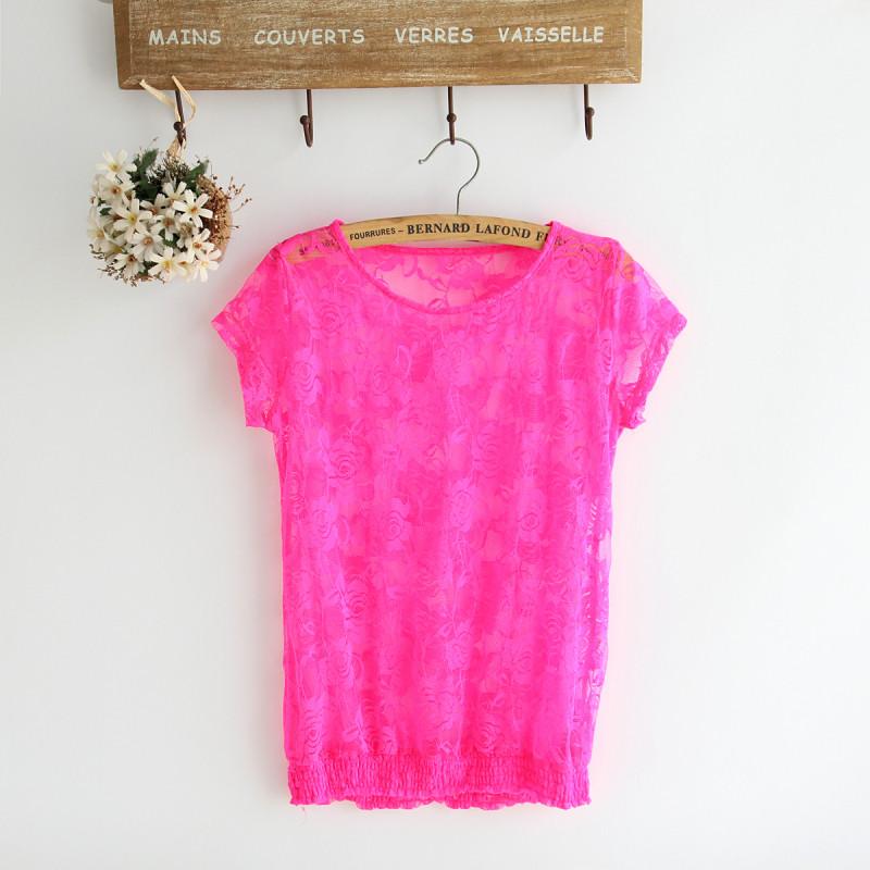 2014春夏裝女款外貿糖果熒光色性感鏤空勾花蕾絲衫T恤打底罩衫O14