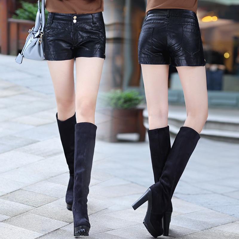 黑色皮裤女秋装低腰迷你靴裤