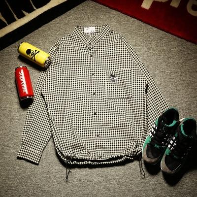 法斗刺绣  韩版蝙蝠袖立领潮男衬衣 日系青少年男生宽松格子衬衫