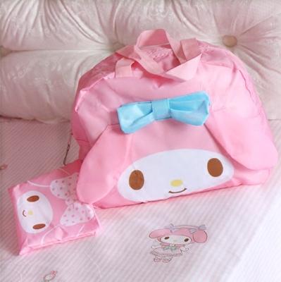 粉色美乐蒂meoldy蓝蝴蝶结便携旅行袋 手提行李包 可套拉杆行李箱