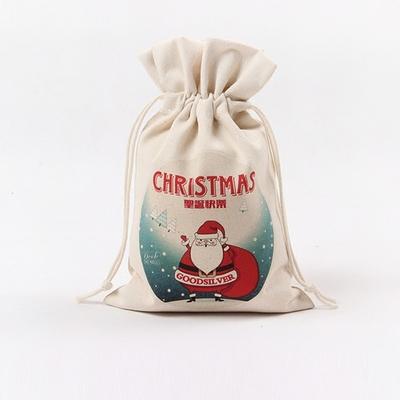手工创意帆布收纳袋束口袋抽绳袋圣诞节礼品袋首饰袋可定制女购物