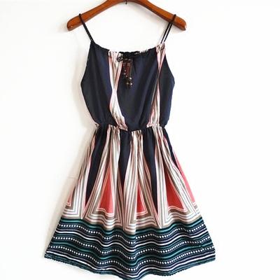 2016夏复古印花吊带高腰显瘦海滩裙连衣裙露肩海边度假沙滩裙短裙