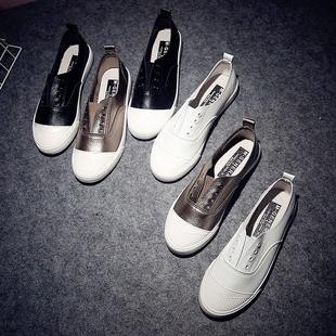 欧美套脚韩版ulzzang小白鞋板鞋pu皮乐福鞋低帮女式休闲鞋帆布鞋
