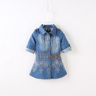 女童韩版秋装牛仔外套时尚修身刺绣