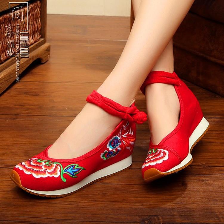 紅色34老布鞋休閑運動旅游鞋舒適民族風舞蹈繡花鞋厚底內增高女單鞋