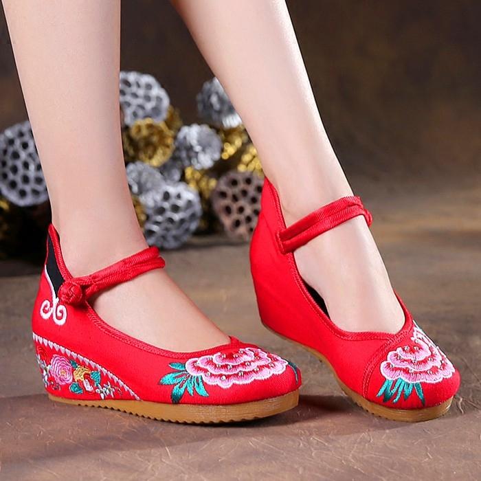 黑色34夏老布鞋坡跟休閑鞋廣場舞蹈鞋民族風漢服鞋繡花鞋女單鞋婚鞋