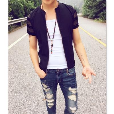 夏季潮男纯色修身透气短袖男T恤韩版时尚青年圆领半袖拉链薄开衫