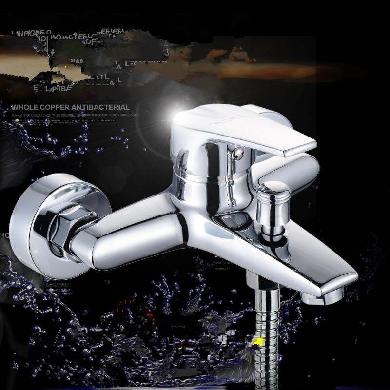 Dark bathroom shower, shower faucet, mixing valve nozzle, shower switch, hot and cold water, copper bathroom valve