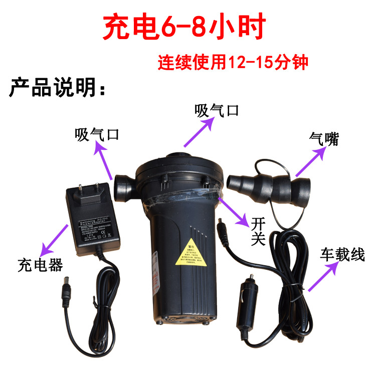 зареждане на изделия с двойна употреба на открито с нови преносими акумулаторни батерии, нагнетателна въздушна възглавница, електрически басейн на леглото.