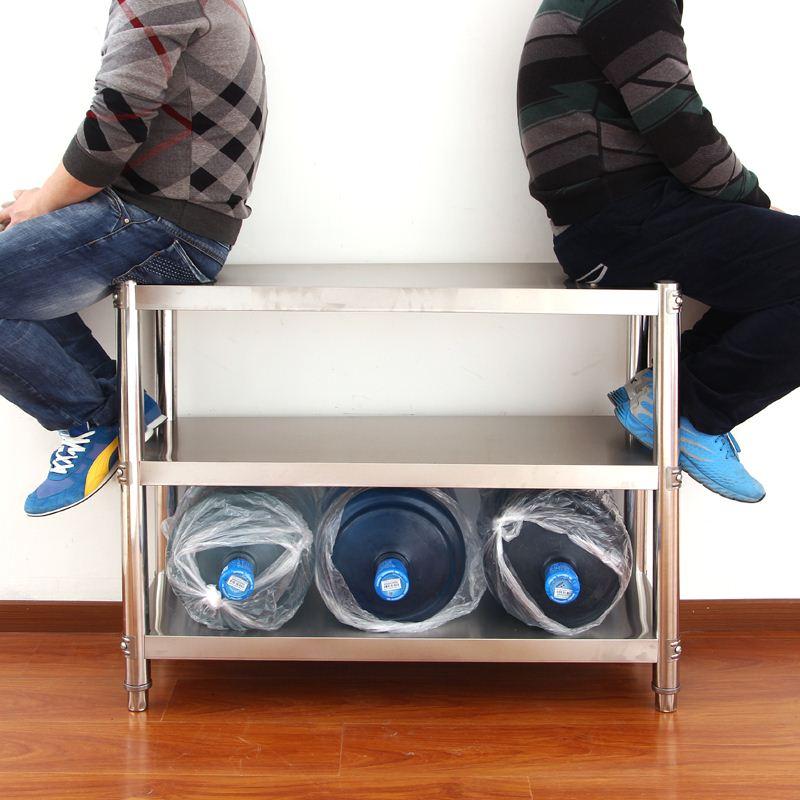 El aterrizaje de estantes de acero inoxidable del estante de la cocina del Hotel el horno de microondas con marco a tres paquetes de correo