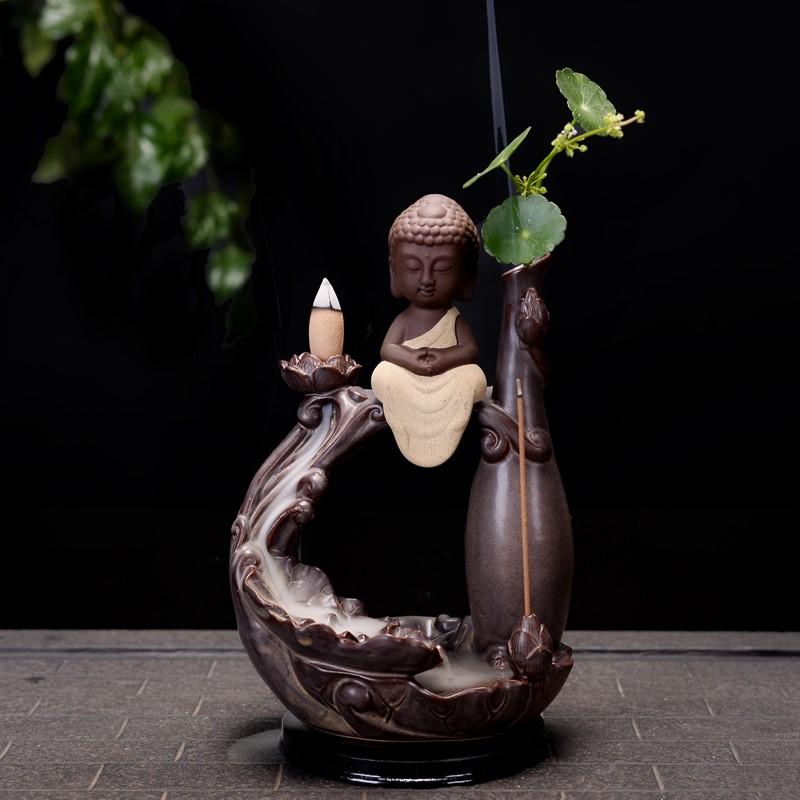 Сэм Гуаньинь Татхагата Ароматерапия творческих кадило керамические печи башня аромат сандалового дерева украшения аромат чайной церемонии Будда украшения назад сиденья
