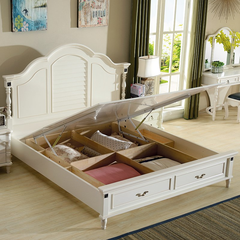 The new bed wood bed white 1.8 meters of modern simple European style bed bed double bed American master Jane