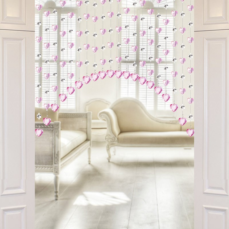 Pink living room restaurant, partition bead curtain, purple arched crystal curtain, arc bedroom door curtain, red finished curtain