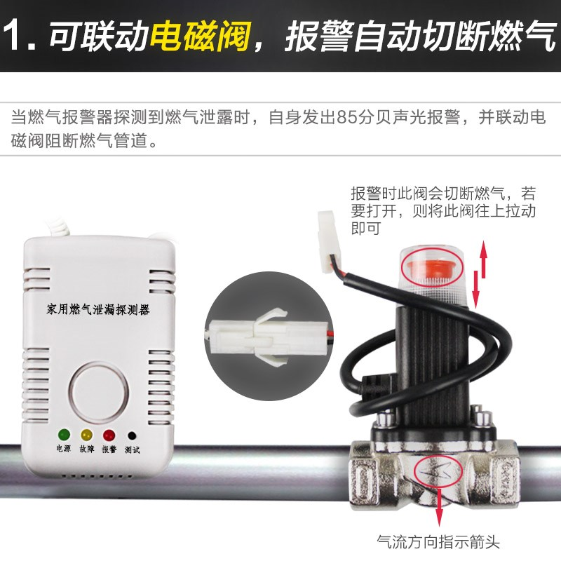 Gas cut off valve gas leakage automatic cut off electromagnetic valve, household pipeline gas safety valve alarm