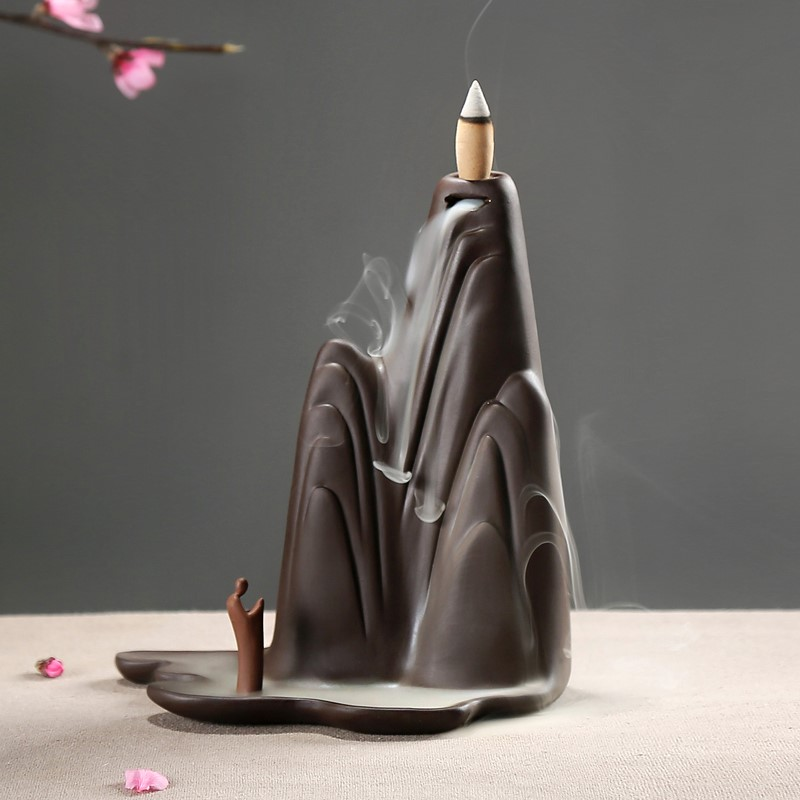 вспять фиолетовый Ароматерапия печи декоративных дым облака проточной воды керамические украшения интерьера гостиной дзен Садо кадило