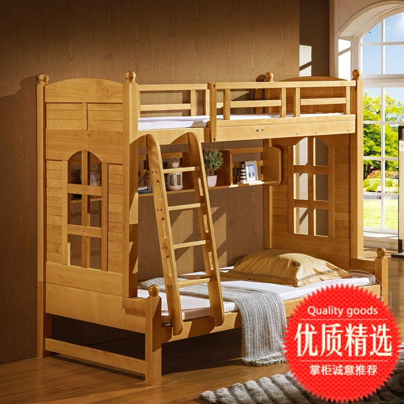 All solid wood beech fairy tale bed, children's high and low bunk bed, hut, multi-functional environmental protection