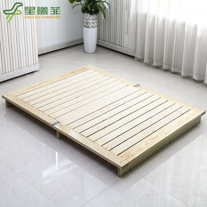 [new] full of pine wood bed single bed folding bed tatami bed bedstead bedplate 1.2 double hard short bed