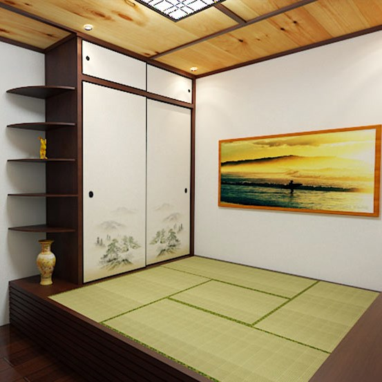 The whole house custom Japanese tatami bed bedroom floor custom pine wood lockers combination box bed