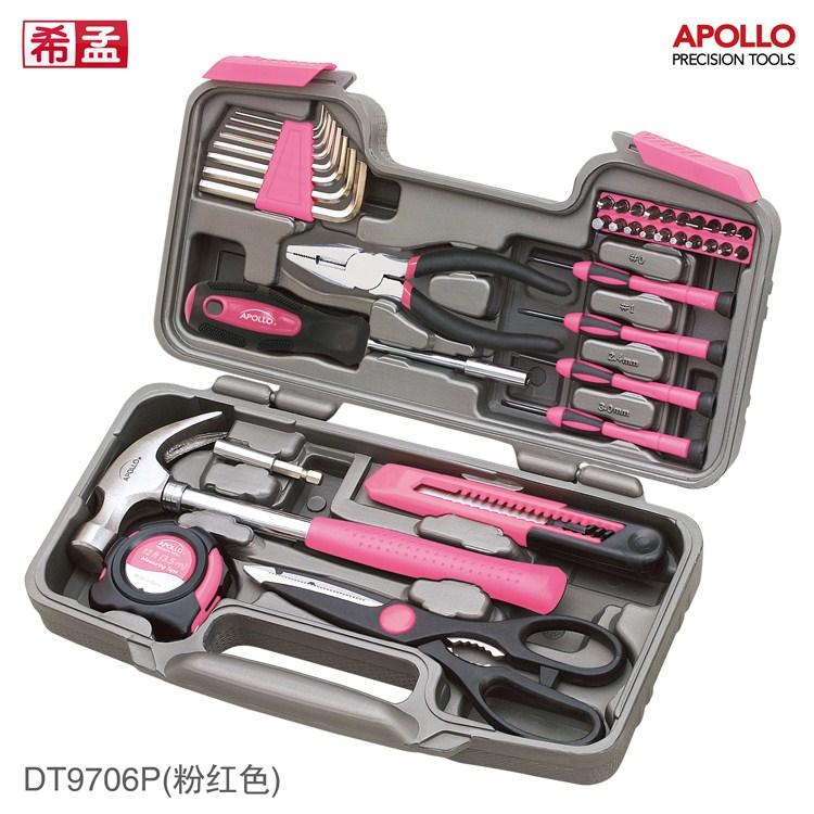 Household hardware tool kit set hammer screwdriver pliers combination spanner pink gift kit.